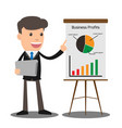 manager in formal suit gives a presentation and vector image