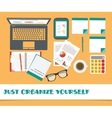 Workplace set office stuff eps 10 on vector image