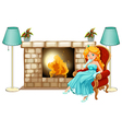 A princess near the fireplace vector image vector image