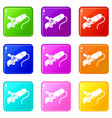 angle grinder icons set 9 color collection vector image vector image