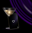 black card glass and purple drape vector image vector image