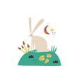 cartoon hare character hand vector image vector image