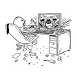 cartoon of businessman drinking smoking and vector image