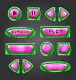 Cartoon pink buttons with leaves Game interface vector image vector image