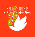 christmas card dove holding mistletoe bunch vector image vector image