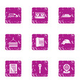 construction project icons set grunge style vector image