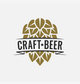 craft beer logo with beer hop on white background vector image vector image