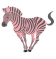 cute naturalistic zebra with pink stripes vector image vector image