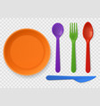 disposable plastic tableware realistic colorful vector image vector image