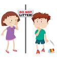 do not litter scene vector image vector image