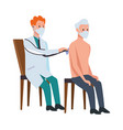 doctor attending old man in chairs vector image vector image