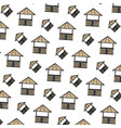 doodle straw hut nature architecture background vector image