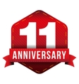 Eleven year anniversary badge with red ribbon vector image vector image