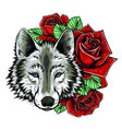 embroidery wolf and roses needlework patch of vector image vector image