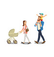family strolling with kids isolated cartoon vector image