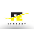 fe f e black and yellow letter logo with swoosh vector image
