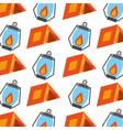 forest camping tent and lamp seamless pattern vector image vector image