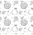 Fresh pomegranates hand drawn background Doodle vector image vector image