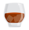 glass rum brandy or dark whiskey alcohol drink vector image