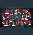 greeting christmas card with collection of red vector image vector image