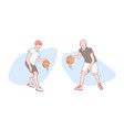 guys play basketball set concept vector image vector image