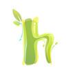 h letter eco logo formed watercolor splashes vector image vector image