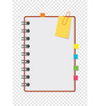 half a color open notepad on the spring with vector image vector image