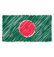 hand drawn national flag of bangladesh isolated on vector image vector image