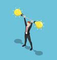 isometric businessman lift idea barbell weight up vector image vector image