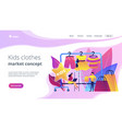 kids fashion concept landing page vector image vector image