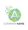 letter a logo blue green yellow particles vector image