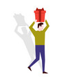 man holding a gift box over his head vector image vector image