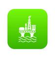 oil platform icon green vector image vector image