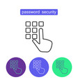 password security outline icons set vector image vector image