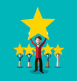 people with quality gold rating stars feedback vector image