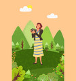 photographer woman with camera nature landscape vector image vector image