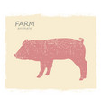 pig farm animal silhouette vintage symbol pig on vector image