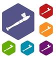 Pipe for smoking marijuana icons set vector image vector image
