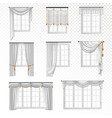 realistic curtain windows set vector image vector image