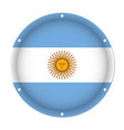 round metallic flag of argentina with screw holes vector image vector image