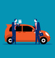 salesman shows car insurance concept business vector image