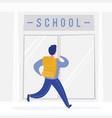 school boy running with backpack to school vector image vector image