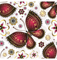 Seamless pattern with purple vintage butterflies vector image vector image
