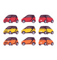 set of mini electric car in red yellow orange vector image