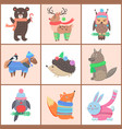 set posters cute animals vector image vector image