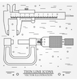Set thin line icons caliper and micrometer vector image vector image