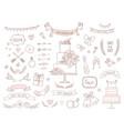 set wedding and icons hand drawn vector image