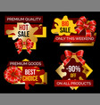 shopping stickers set offer and discount vector image vector image