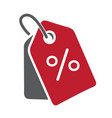 simple flat red gray price tag icon with percent vector image