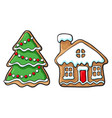 snowman and house christmas gingerbread cookies vector image vector image